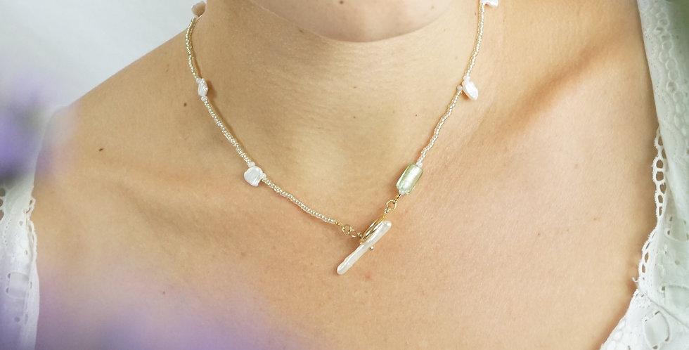 Love You From Afar Biwa Keshi Pearl Chocker Necklace
