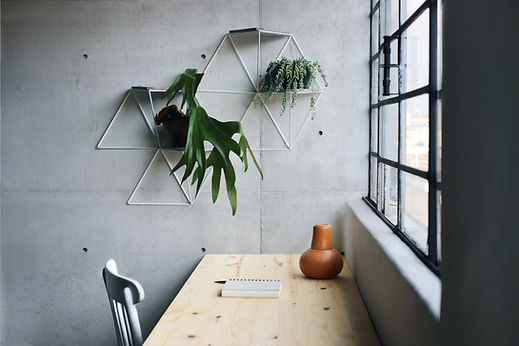 Home office decoration with modular plant stands