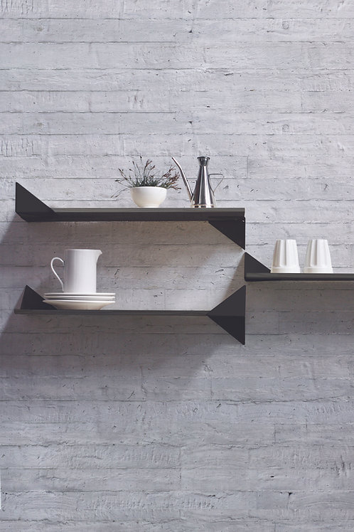 Kit with 3 Wing Shelves black | natural base