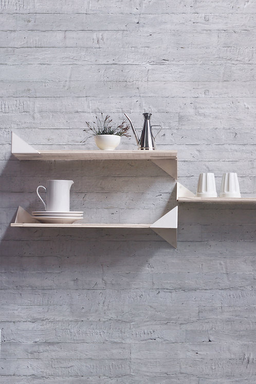 Kit with 3 Wing Shelves white | natural base