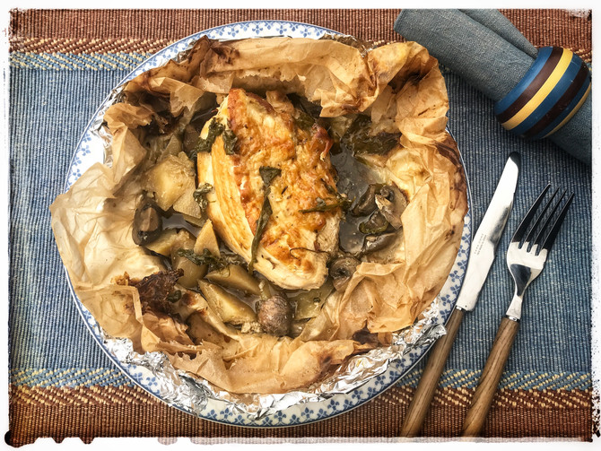 Turkey Fillet with Ouzo in Parchment Bundles