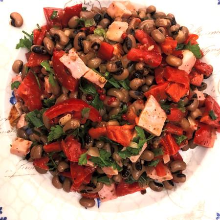 Greek Black-eyed peas Salad with smoked ham