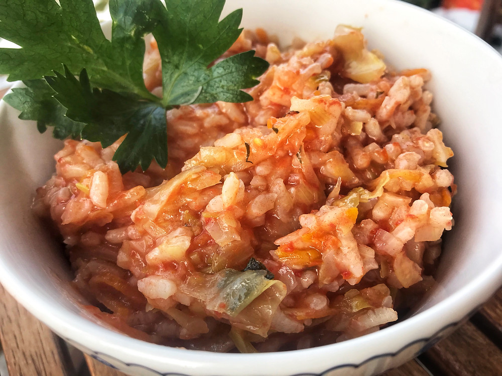 how to make greek cabbage rice