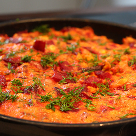 Beetroot Omelet (Frittata) with Feta Cheese and Potatoes