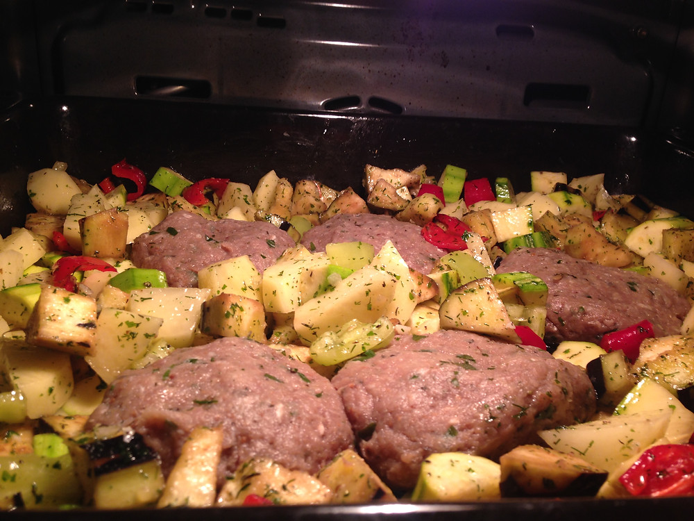 Beef patties in the oven