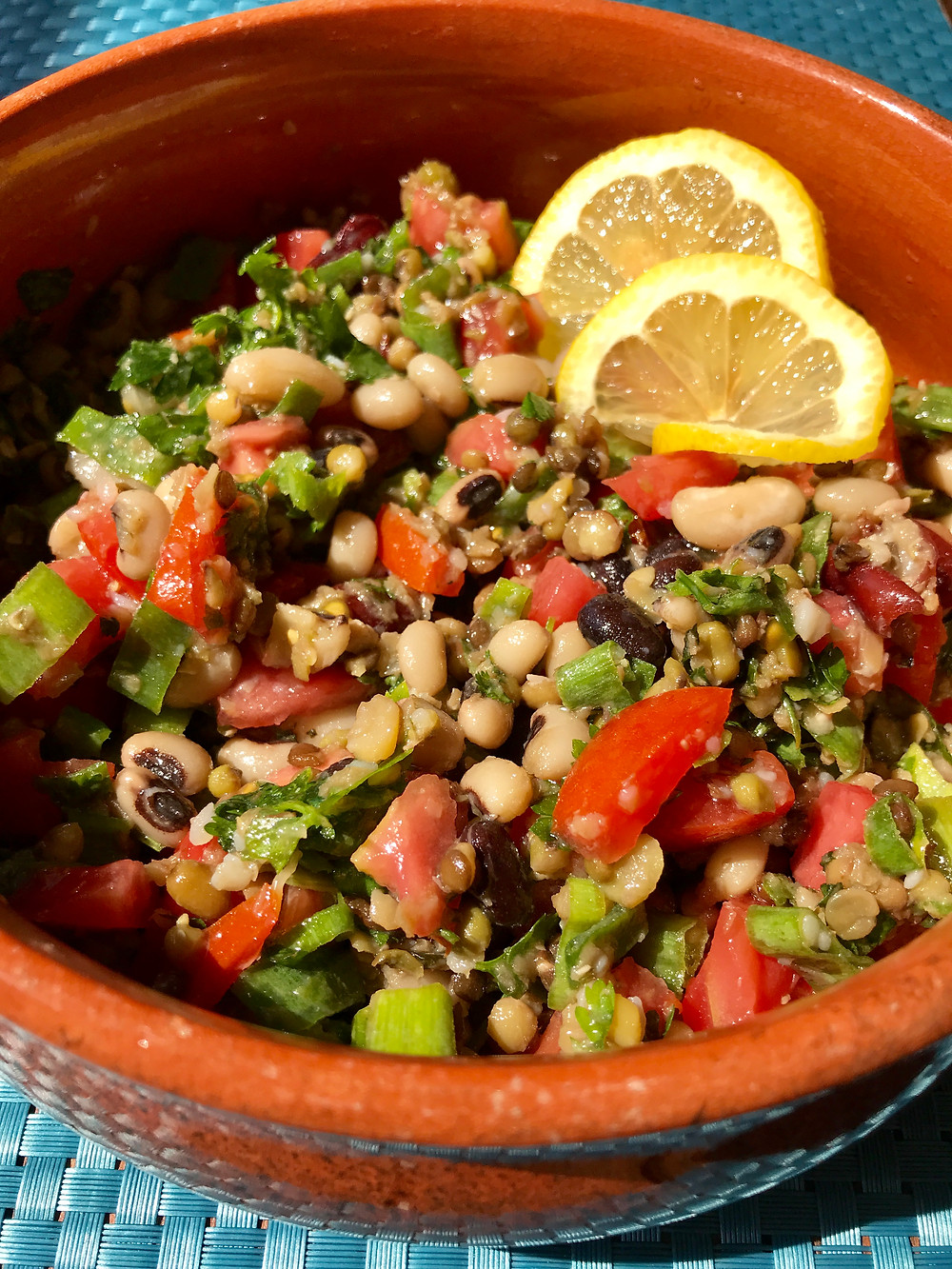 Mixed legume pulse salad recipe