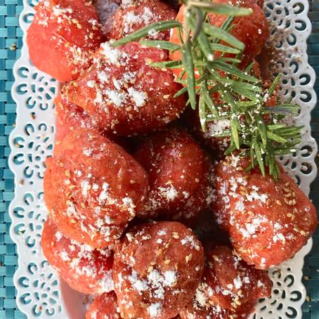 Red Greek Honey dumplings (aka Loukoumades)