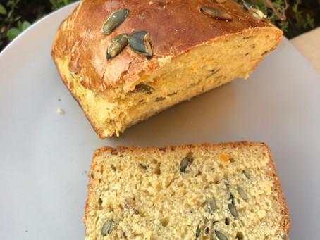 Pumpkin bread with pumpkin puree and seeds
