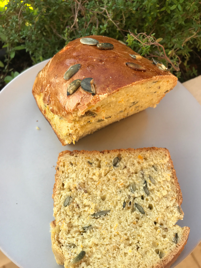 Pumpkin bread with pumpkin puree and seeds