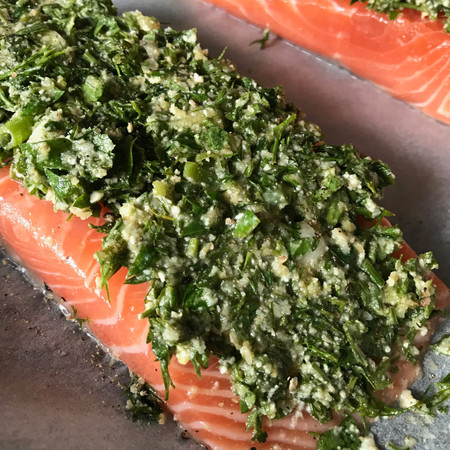 Salmon fillet baked with Mediterranean herbs