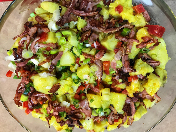 Sweet Potato Salad with Bacon and Red Pepper