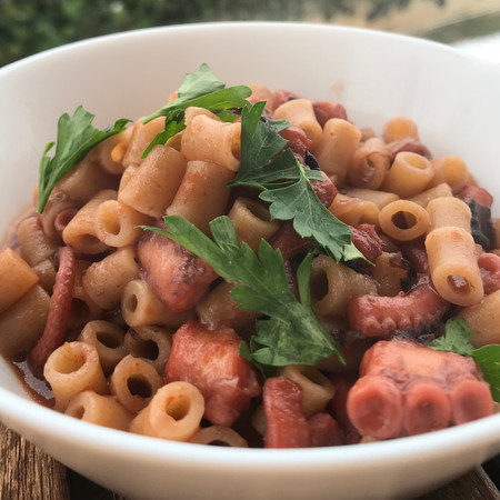 Greek Octopus Stew with fresh tomato sauce and Pasta