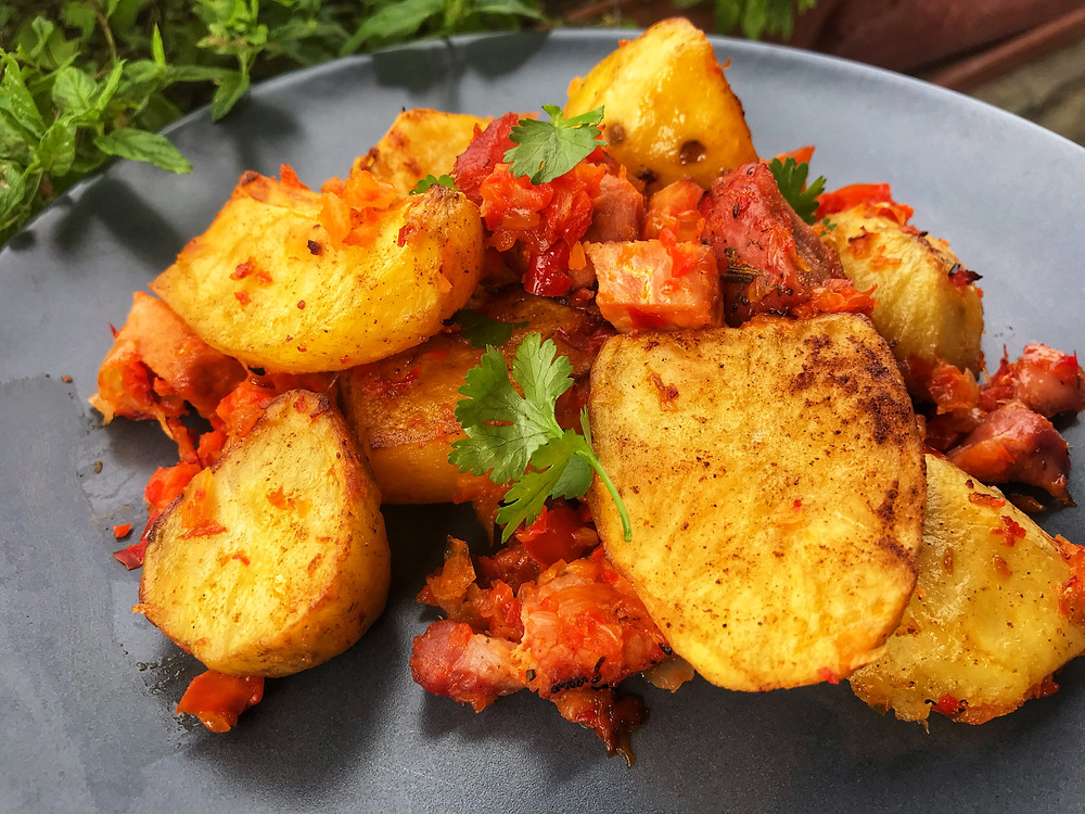 How to make easy oven roasted potatoes with smoked pork or country sausage
