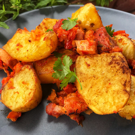 Oven Roasted Potatoes with red peppers and smoked pork