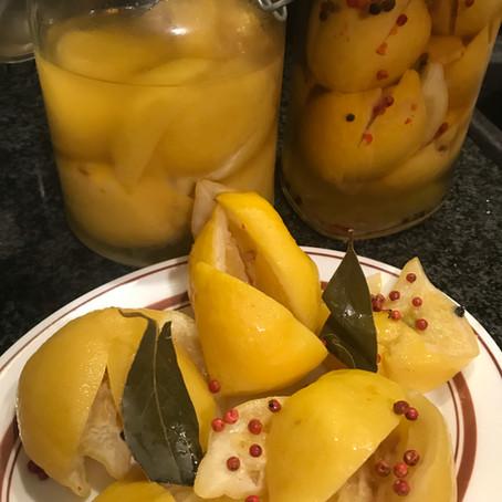 Lemons preserved in brine (pickled lemons)