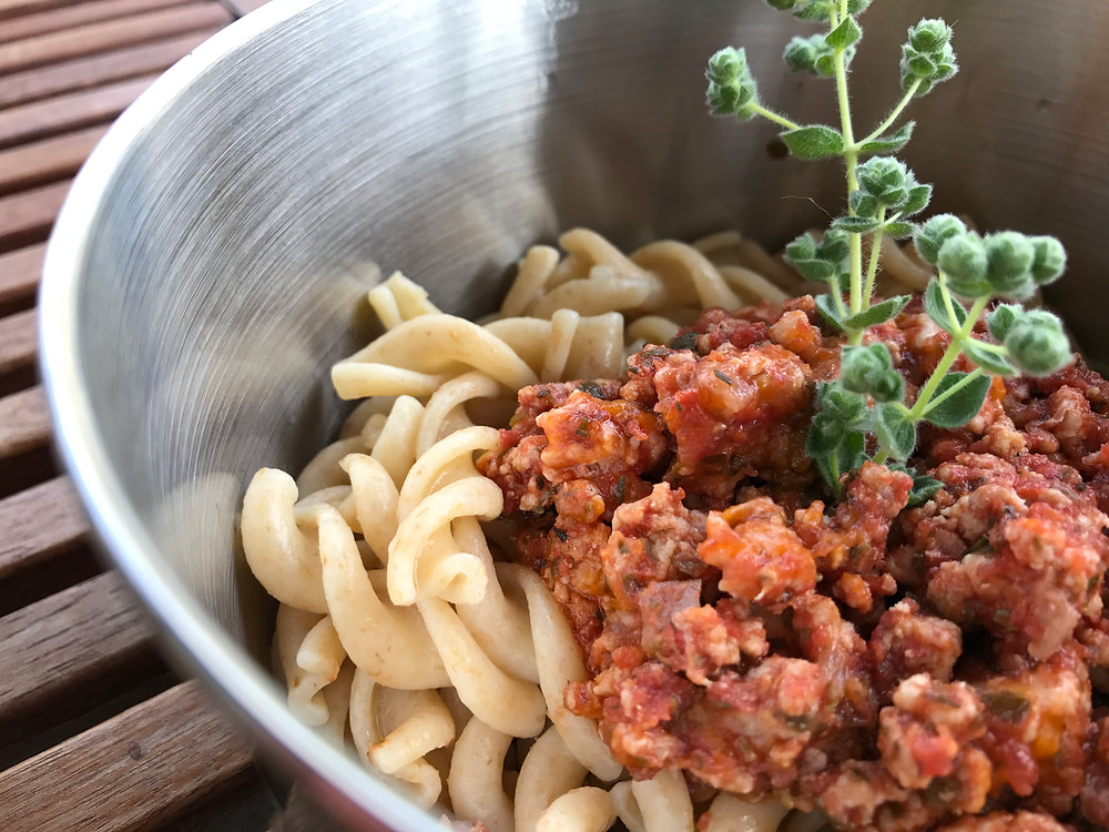 Whole Grain Pasta with minced Chicken