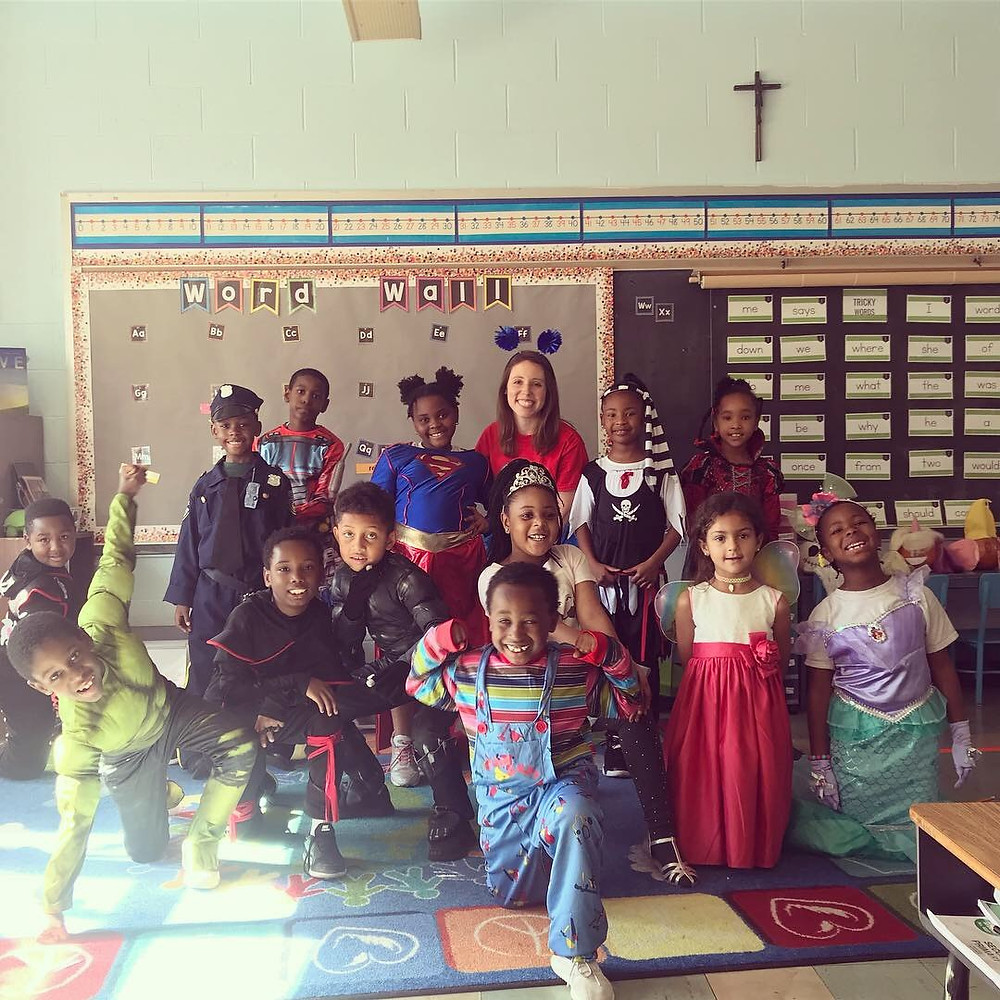 Dana and her students on Halloween