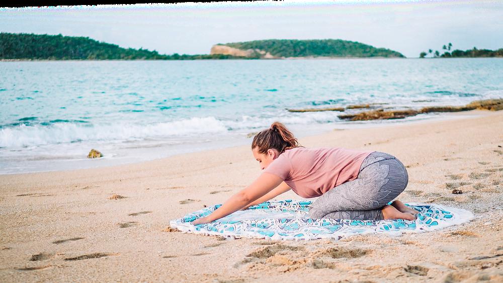 Bubbly Yogi Vieques Puerto Rico Beach Yoga Childs Pose