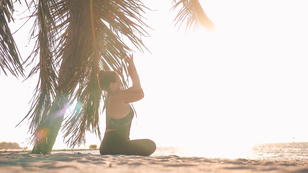 Bubbly Yogi Key West Florida Beach Yoga Seated Eagle Pose
