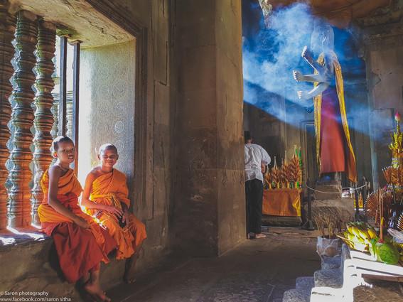Monk at Angkor Wat Temple, Siem Reap, Cambodia