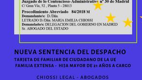 Sentencia, tarjeta de familiar de la UE familia extensa, hija mayor de 21 años a cargo