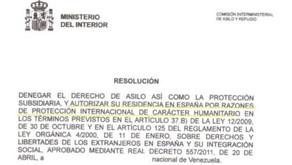 Residencia por protección internacional de carácter humanitario en favor de una ciudadana venezolana