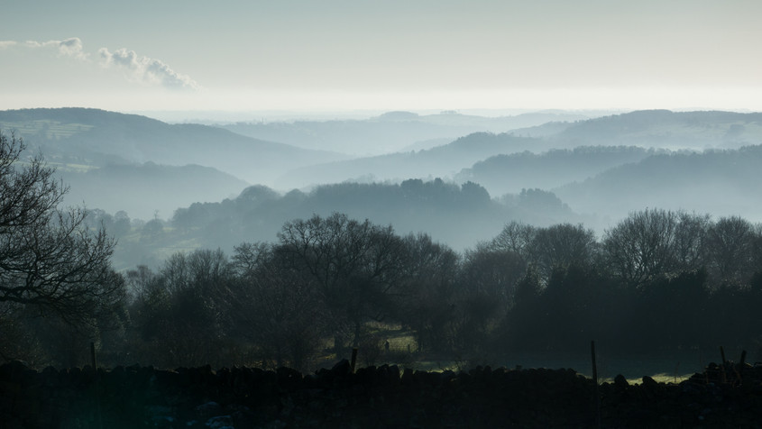 Misty hills from Bilberry Knoll