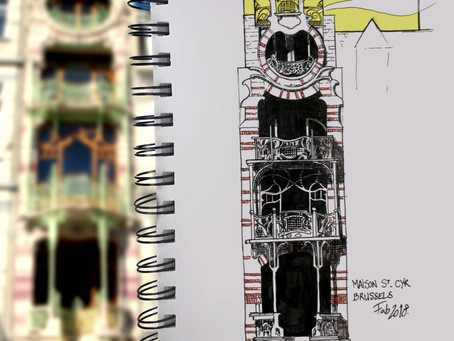 SKETCH SERIE #3 : Art Nouveau building - BRUSSELS