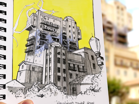 SKETCH SERIE #16 : Disneyland Paris - Hollywood Tower Hotel