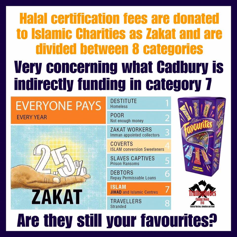 Are you going to buy Cadbury this Christmas and indirectly fund Islamic abuse against women and children?  Are you going to indirectly fund jihad?  Halal Certification fees paid by Cadbury indirectly fund:  1. The abuse of women and children through funding mosques which advocate and implement Sharia.  2. Jihad, through halal certification fees given to Islamic charities who give one-eighth of their funds to the seventh category of Zaket which funds jihad.  WHY IS OUR GOVERNMENT ALLOWING THIS TO HAPPEN?  LEAVE CADBURY ON THE SHELF and ignore the 50% pre Christmas and after Christmas fire sale  #Truthophobes