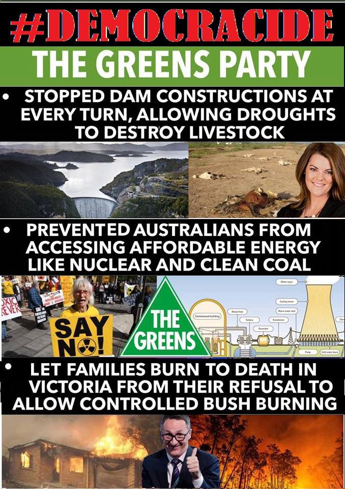 The Greens are the traitors from within. Green on the outside but red to the core is this left wing Marxist political party. The Greens don't care about the environment and people they only care about power.