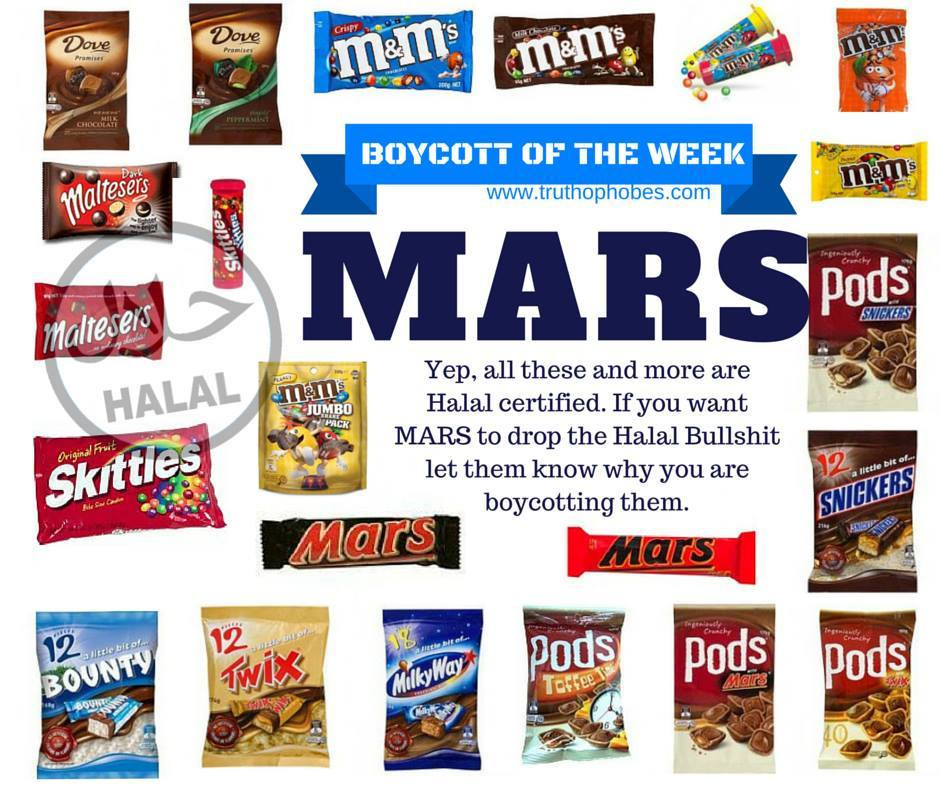 Companies such as MARS need to make a choice.  Who do you support, Australia or islam?  You can't support both.  islam comes to conquer, not assimilate.  If companies turn their back on Australia to fund islam. We must turn our back on these companies and boycott their products.  Only a fool knowingly supports his/her own demise.  Buying halal products funds mosques, islamic schools and terrorism. Future generations are counting on us to be wise and responsible.