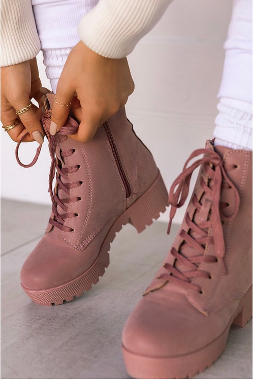 Blush Combat Boots