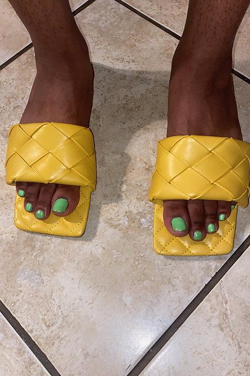 Mustard Quilted Slides