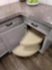 Pull out shelves in blind corner base cabinet