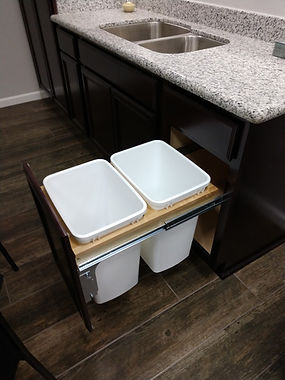 Pull out trash bins in kitchen cabinet 2 cans