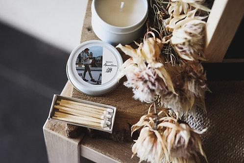 Petite bougie boîte en métal - commande minimum 25 bougies