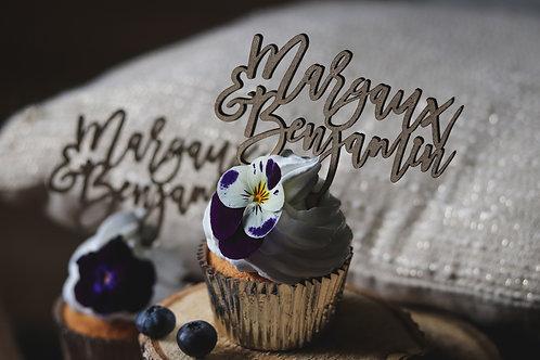 Mini Cake Topper pour Cupcakes personnalisés - lot de 3 ( pas de vente à l'unité