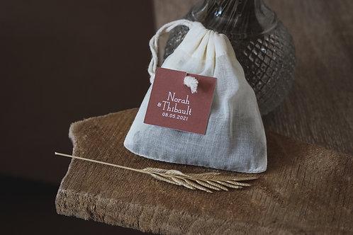 Cadeaux invités - Sachet de thé réutilisable coton bio - Thé vert bio