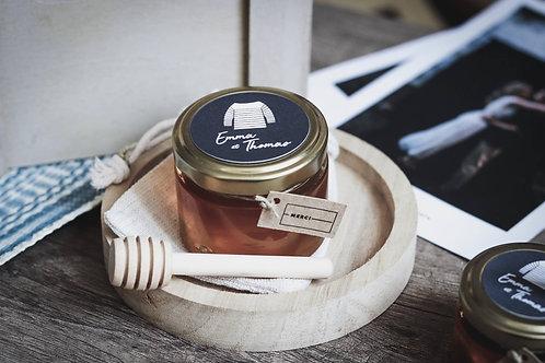 Cadeaux invités - Petit pot gourmande de miel 50 Ml + petite cuillère en bois