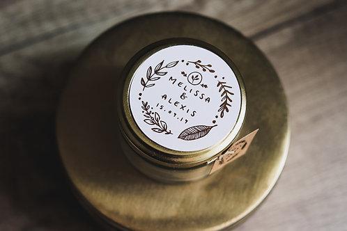 Cadeaux invités : Bougie police gold rose + petite étiquette - commande minimum