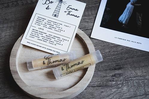 Cadeaux invités : 10 Baumes à lèvres personnalisés -