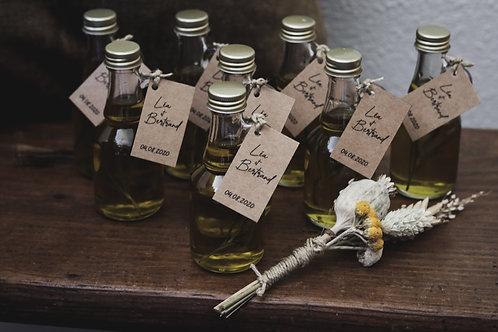Mini bouteille d'huile d'olive première pression à froid bio infusée au romarin