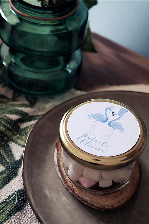 Présent pour invités - Petit pot de mini-marshmallows - min 15