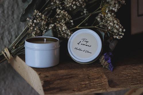 Cadeaux invités - Petite bougie boîte en métal - commande minimum 25 bougies