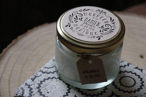 Cadeaux invités : Bougie : Bougie blanche/crème à personnaliser : prénoms + date