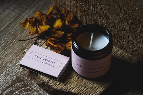 Ensemble bougie parfumée  + boîte d'allumettes ( commande mini 25 )