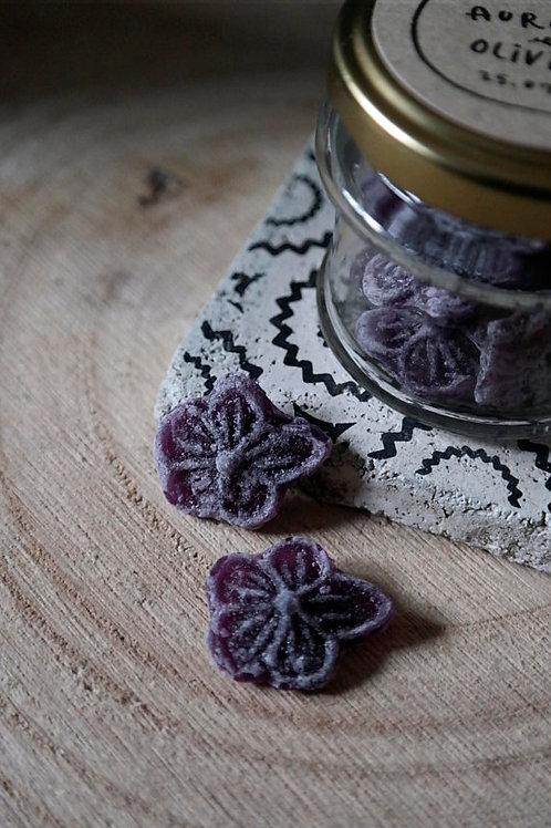 Nouveau : Petit pot bonbons à la violette Toulouse - Etiquette à personnaliser (