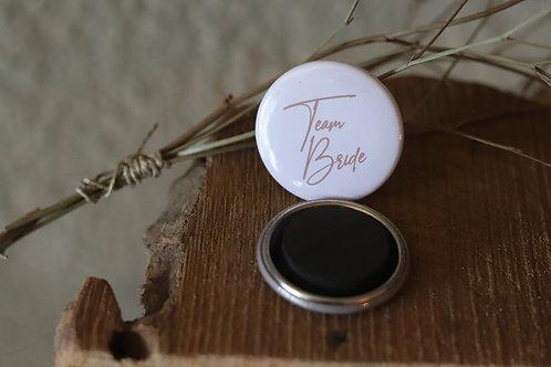 """Lot de 10 magnets """" Team Bride """" - Cadeaux invités - Magnets ronds personnalisés"""