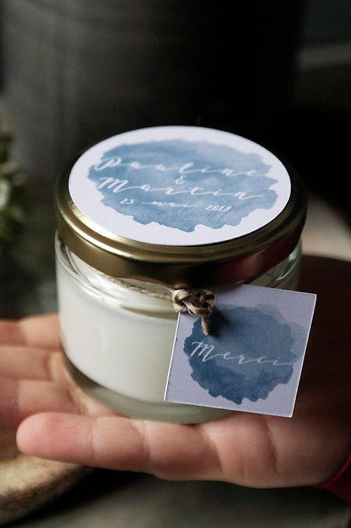 Nouveau : Cadeaux invités - Bougie étiquette personnalisée ( prénoms + date ) mi